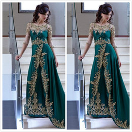 Wholesale Emerald Green Prom Dresses Long Sleeves Illusion Appliques Beaded African Prom Dress Long Vestidos De Festa Formal Dresses Women Wear