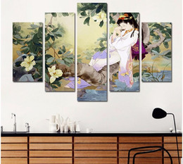 Wholesale Retro Japan style sleeping Beauty pictures decoration flowers tree Canvas Painting Japanese wall Art living room decor unframed