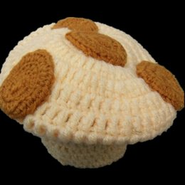 Wholesale Free Post Lovely Little Mushroom Baby Girls Boys Hat Handmade Knit Crochet Toddler Photography Prop Food Beanie Hat Cap Infant Photo Prop