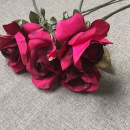 Wholesale Beautiful silk open cottage rose stem in bold red wedding designs and bouquets for elegant height in pop of color perfect focal point decro