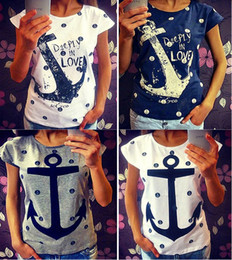 Fashion Hot T Shirts for women ship's anchor print t-shirt navy sailor short sleeve tops plus size femininas tees tshirt NV07 RF