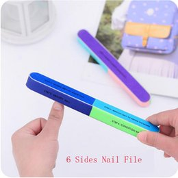 Wholesale 6 Sides Colorful Scrub Nail Files Pro Nail Article Files Beauty Nail Manicure Art Tools Polishing Block Sanding Nail