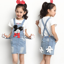 Wholesale New Big Girl children Denim Suspender Dress Cartoon Mickey Mouse sequins Bow cowboy braces dress fashion baby girl denim dress CM