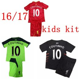 Wholesale Free ship Liverpool kids childs jersey home away third red black green color GERRARD HENDERSON LALLANA COUTINHO baby shirts