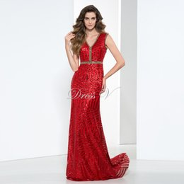 Wholesale 2017 Plus Size Red Sequins Women Evening Dresses Online Affordable Formal Dress V Neck Beading Crystal Sheath Party Prom Gowns