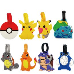 Wholesale Soft Rubber Luggage Tags - Poke Game Luggage Tags Travel Soft Rubber Suitcase Tag Carrying Case Tag Packet Label Wrap Easily Recognizable Bag Parts With The Lanyard