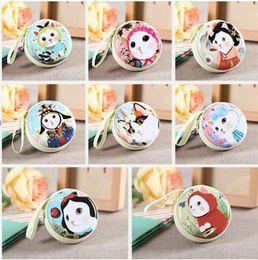 Wholesale cartoon cat zipper mustache Tinplate Coin Purses Cat Earphone bag Headphone Box Bag cartoon Storage Case