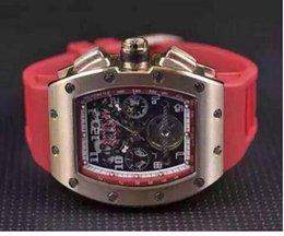 Wholesale Luxury Men Automatic Wristwatch Classic Rose Gold RM011 Big Face Felipe Massa Flyback Transparent Mens Mechanical Tourbillon Watch