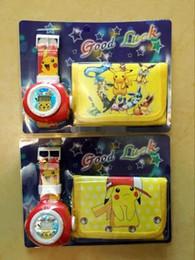 Wholesale New style in Cartoon poke pikachu my little Pony Frozen Sets PU Wallet Purse Wrist Watches Christmas Children Gift