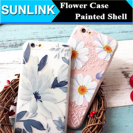 Wholesale Luxury Floral Painted D Relief Case Beauty Flower DIY Back Cover for iPhone s Plus Soft TPU Material Shell