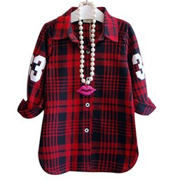 Wholesale New Style Girls Cotton Plaid Shirts with Long Sleeve Vintage Shirt Blouse Number Print Fahsion Baby Girls Shirt Tops Children Kids Clothes