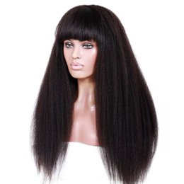 Kinky Straight Full Lace Wig With Bangs 8A Mongolian Coarse Italian Yaki Human Hair Lace Front Wigs With Baby Hair For Black Women
