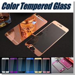 Plaque d'écran à vendre-Pour Iphone 5 6s 6 6plus couleur plaquage verre trempé miroir coloré avant et arrière écran protecteur cellphone film coloré avec boîte de détail