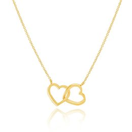 Wholesale Gold Plated Fine Jewelry Stainless Steel Fashion Small Double Hearts Statement Pendant Necklace Women Jewlery n00128