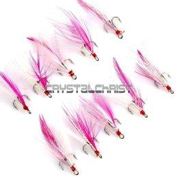 Wholesale New Lures Enhancing Treble Hooks Sea Mackerel Fishing W Pink Feathers