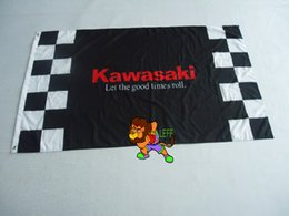 kawasaki racing 3ft x 5ft Polyester Size 90*150CM Brass Grommets
