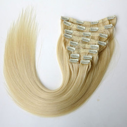 160g 10pcs set 20 22inch Clip in Hair Extensions Smooth Brazilian human Hair #613 Beach Blonde Remy Straight Hair more colors
