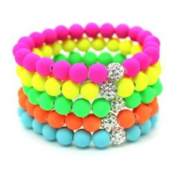 Wholesale Hot Neon Shamballa Bracelet Handmade Jewelry Fluorescence Candy Color Beads Disco Shamballa Ball Stretch Bracelets b057