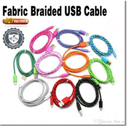 Wholesale 1M Nylon Braided Micro USB Cable Charger Data Sync USB Cable Cord For Samsung Galaxy iPhone Cell phones Colors Available