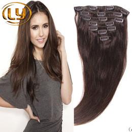Compra Online Extensión del pelo humano clip de la cabeza llena-7A el clip brasileño del 100% en las extensiones 7/10 del pelo / fijó el clip recto natural principal integral de Brown en pelo brasileño de la extensión del pelo humano