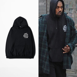 Wholesale Anti Social Social Club Hoodies Black Pink White Hoody Sweatshirts Kanye West Style Streetwear Men Hoodies YHWY0071XX