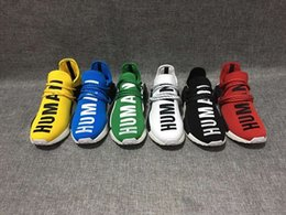 Wholesale 2016 new Mens and Womens Pharrell Williams NMD HUMAN RACE shoes In Black White Yellow Green Blue White and Grey buy cheap and