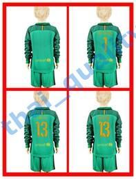 Wholesale Youth Kids Soccer Jersey Barcelona TER STEGEN Cillesse C BRAVO Goalkeeper Long Sleeve Uniforms Kit