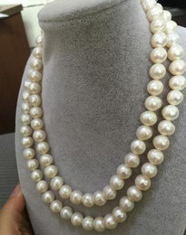 Wholesale double strands 12-13mm south sea baroque white pearl necklace 38inch 14k gold clasp