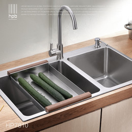 Wholesale HPB German Kitchen Stainless Steel Double Bowel Thicken Square Brushed Kitchen Sink HP7801