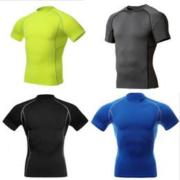 Capas base en Línea-Al por mayor-Hombres de compresión usar debajo de la Capa Base Tops apretada manga corta Deportes camisetas nueva llegada