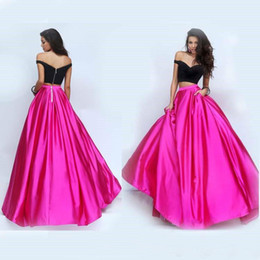 Modest 2016 Black And Fuchsia Taffeta Two Pieces Prom Dresses Cheap Off Shoulder Back Zipper With Pocket Long Formal Party Gowns EN7079