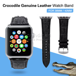 Wholesale Crocodile Pattern Genuine Leather Band for iwatch Apple Watch Wrist Watch Bracelet Buckle Clasp Leather Watch Strap For iWatch Band mm m