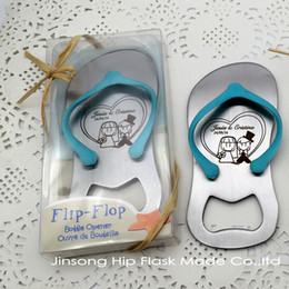 Wholesale Personalized wedding favors and party gifts the Top Flip Flop Bottle Opener Groom and Bride name engraved on it