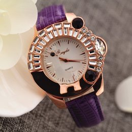 Free shipping!Leather band,animal deer crystal on case,gold plate case,quartz movement,Gerryda fashion woman lady quartz crystal watches