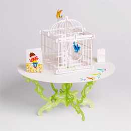Wholesale Laser Cut Paper Birdcages - Birdcage Laser Cut 3D pop up paper laser cut crafts display custom Handmade Greeting Cards Happy Birthday Gifts 7006