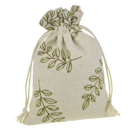 Wholesale 10x14cm Handmade Jewelry Bags Leaf Printing Cotton Linen drawstring Package bags Sack Jewelry Pouches wedding bomboniera Gift burlap bags