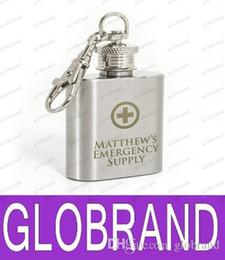 Hip LAI GRATUIT personnalisé Gravé 1 oz en acier inoxydable Flask Keyring LIVRAISON GRATUITE à partir de gravent flacon fabricateur