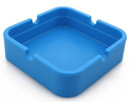 Wholesale blue Silicone Ashtray Blue Square Ashtray can printed logo perfect promotional gift for friends and customers