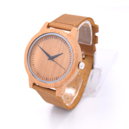 Spot genuine leather strap Bamboo code no number PU PU belt buckle male models sandalwood table fashion wood quartz watch