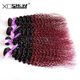 Wholesale Cheap Wholesale Kinky Curly Weave - Cheap Ombre 100 natural human hair weave 100% Brazilian 2 Tone Ombre burgundy hair Weaving Kinky Curly 3Pcs lot Bella Omber hair bundle