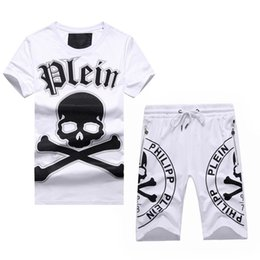 Wholesale NEW summer fashion brand cotton T shirt printed skull and horse Men s Fitness Leisure Jackets movement Short Pants suite