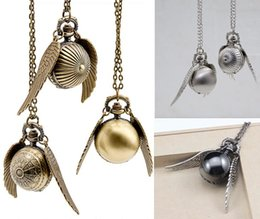 Wholesale mix Colors harry potter golden snitch necklace Harry Potter wings necklace necklace ball quartz pocket watch PW061