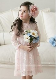 Wholesale Booking new children dress girls lace hollow tulle dress cotton vest dress kids full lace princess dress sweet baby girls dress A7482