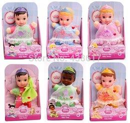 Wholesale Princess Mini Baby Snow White Little Mermaid Belle Mulan Tiana Cinderella Doll cm Cute Plush Stuffed Kids Toys Dolls Girls Gift