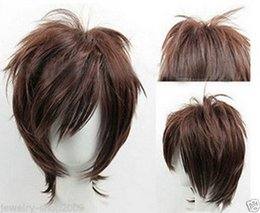 100% Brand New High Quality Fashion Picture full lace wigs>>New cosplay party short Dark brown mixed Wig