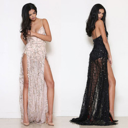 New Arrival Sequin Fringes Maxi Prom Dresses V-Neck Sleeveless Split Long Formal Evening Dress Black Gold Runway Dress Clubwear LJF0808