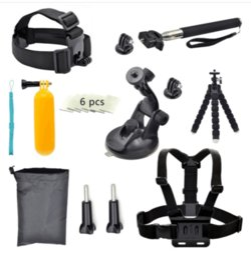 Wholesale Sport Accessory Kit with Waterproof Pouch for Gopro Hero self bar anti fog insert gopro buoyancy rod etc