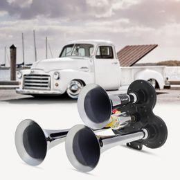 5pcs lott Universal 110-135db Super Loud Triple Trumpet Train Air Horn for Boat Train Car Vehicle 12V   24V AUP_40M