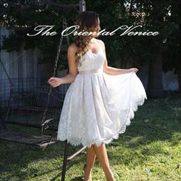 Wholesale 2016 Full Lace Wedding Dresses Summer Beach Short Bridal Gowns Love Sweetheart Backless Wedding Gowns Vestidos de festa Little White Dresses