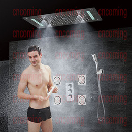 Bathroom Concealed Shower Set with Massage Jets & LED Ceiling Shower Head Thermostatic Bath Shower Panel Rain Waterfall Bubble Mist CF5422